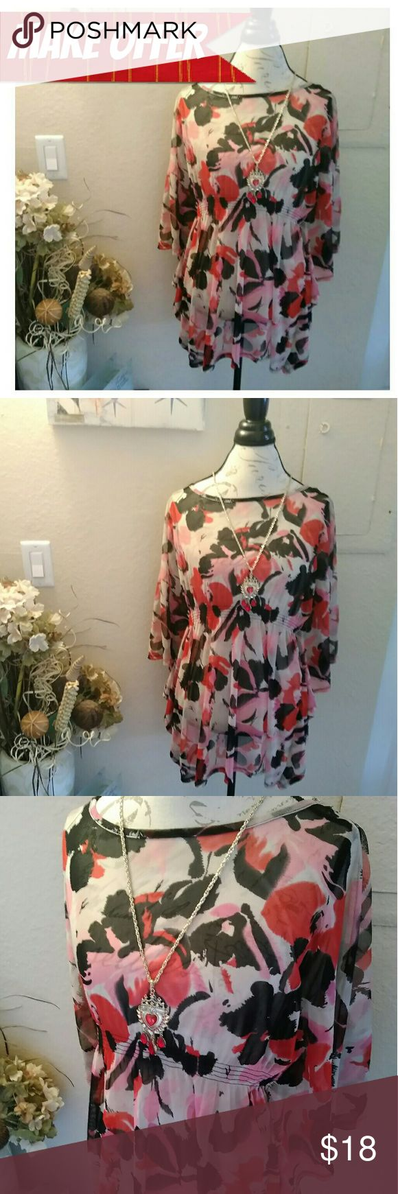I?N?C Floral Pattern Loose Winged Shirt Medium *ASK FOR DISCOUNTED SHIPPING!*  BRAND: Macy's INC International Concepts Size: Medium Petite  It is a flowing Half Length Sleeves Beautiful Abstract flower pattern in hues of red, pink, black & white It is a See-Through Shirt  *BUNDLE TO SAVE! BUNDLE DISCOUNTS!* INC International Concepts Tops Blouses