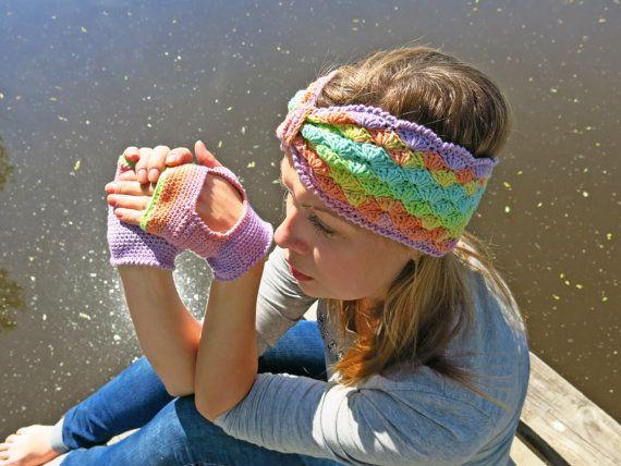 Headband crochet Set mitts Colored headband Bright accessory