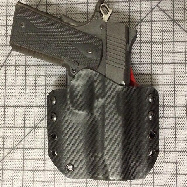 Carbon Fiber/ Blood Red OWB & Kimber Pro TLE II. #custom #kydex #kydexkitchen #ccw #USA #ccweapon #2AUSC #2A #America #2ndAmendment #holster #owb #carbonfiber