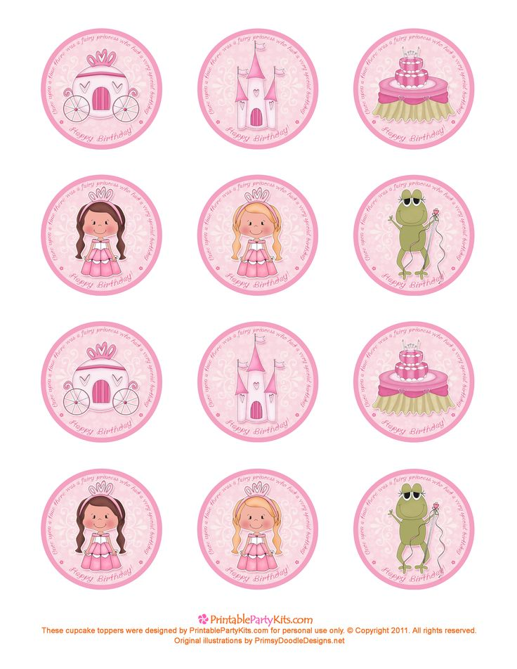 Free Printable Princess Birthday Cupcake Toppers | Printable Party Kits