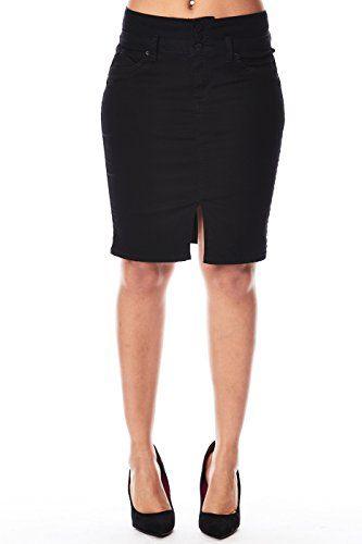 0b2ce0ad9 Womens Solid Midi Buttons Split Cut Knee Length Pencil Skirt K101196 ...