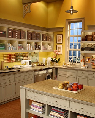 Love the open shelving and undermount lights in this craft room. No yellow though.