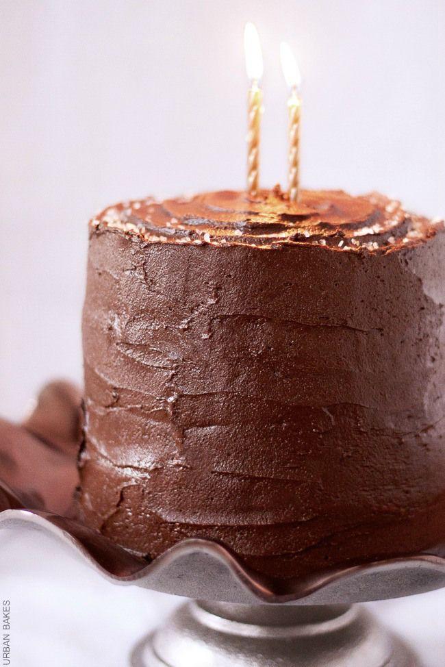 devil's food cake with salted caramel frosting
