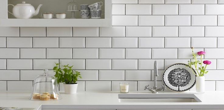 White brick tiles splash back kitchen love pinterest for Metro tiles kitchen ideas