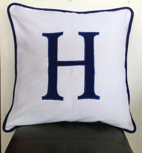 Monogrammed Cushion Cover with Navy Blue piping