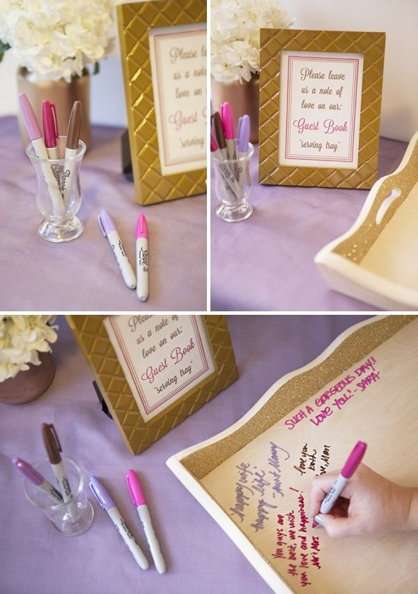 DIY Wedding // How to make a glittery, Sharpie Guest Book Serving Tray!!! FREE sign printable! #guestbook #servingtray #diywedding