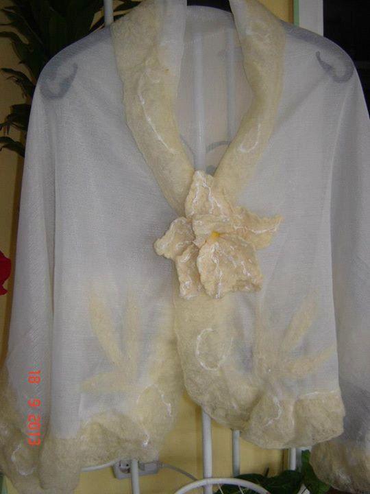 Nuno Felt Scarf Innocence - Beautiful Silk and Wool Shawl