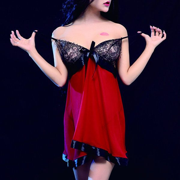 Sexy Deep Plunge See Through Lace Spaghetti Strap Babydoll For Women  #women #fashion #sexy #lingerie