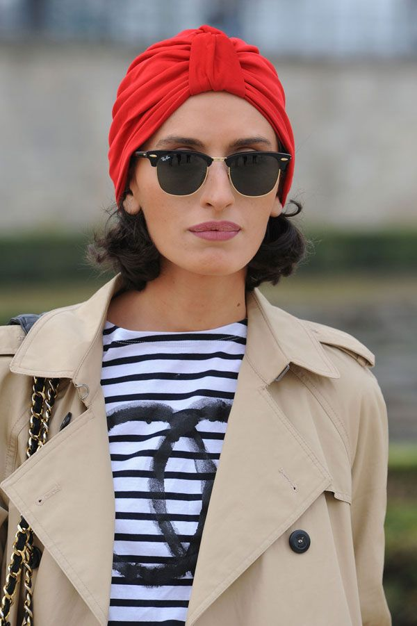 Street Chic: Paris Turbans are timeless; try one in a bright color for spring like this one from Urban Outfitters. Photo: Imaxtree