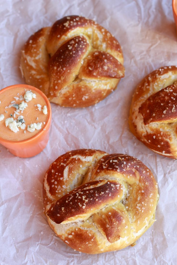 Soft pretzels with cheddar buffalo sauce
