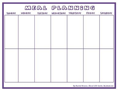 Meal and Menu Planning Charts for Two Weeks