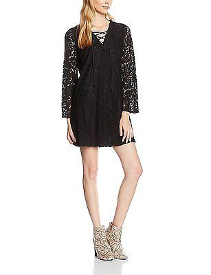 10, Black, Boohoo Women's Sophia Lace up Flute Sleeve Dress NEW
