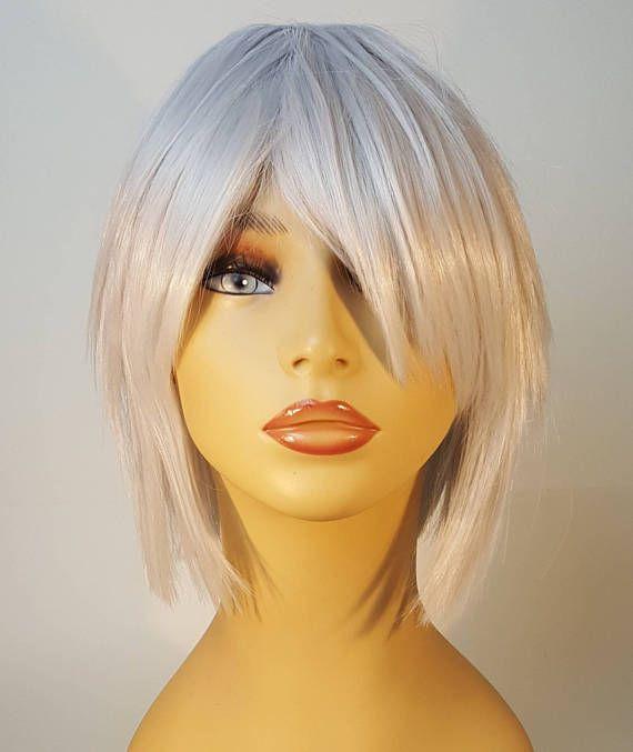 Short Platinum Blonde Wig Shaggy Layered Bob Silver Blonde Bangs