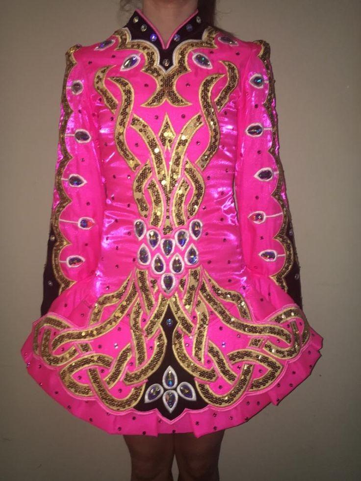 Dazzling Pink Alana Mallon Irish Dance Dress Solo Costume For Sale