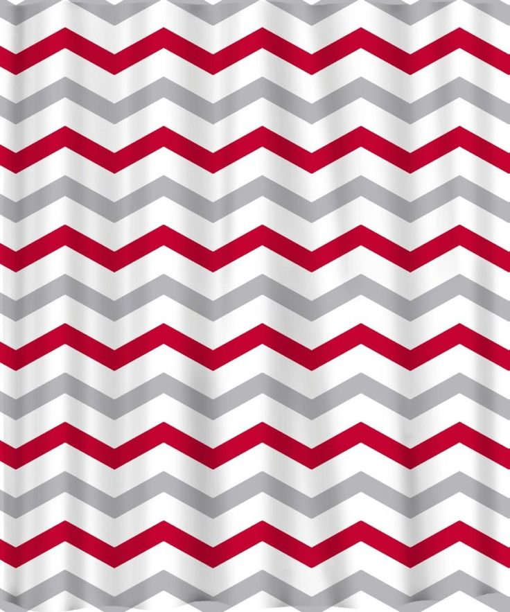 Red And Gray Chevron Shower Curtain