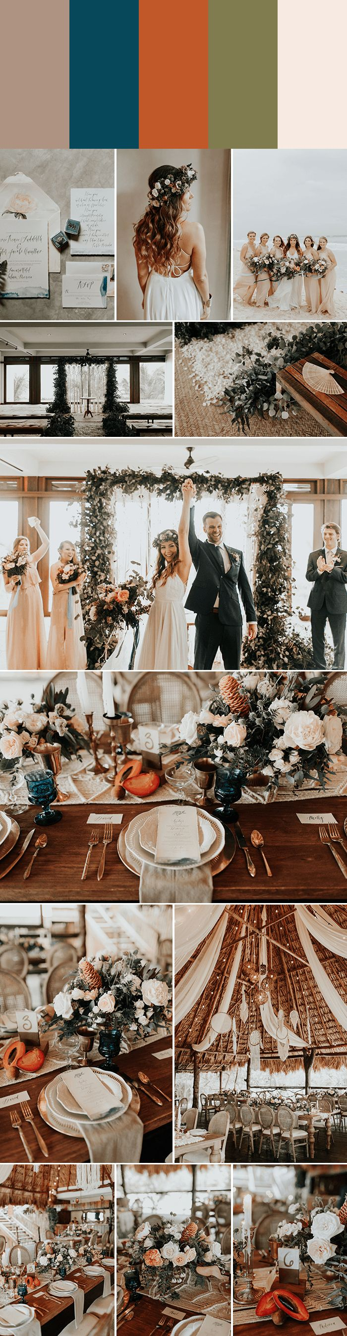 Taupe + Peacock Blue + papaya + Dried Eucalyptus + Sand perf for a breezy beach wedding | Images by Melissa Marshall