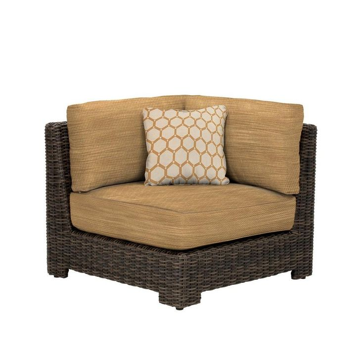 Brown Jordan Northshore Corner Patio Sectional Chair With Sparrow Cushion  And Congo Throw Pillow    Custom