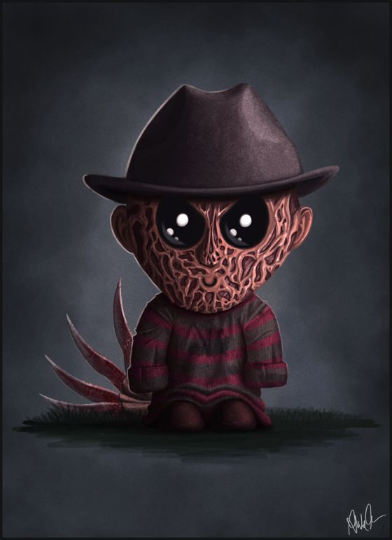Miniature horror movie characters with button eyes illustrations by Monkey Gekko.