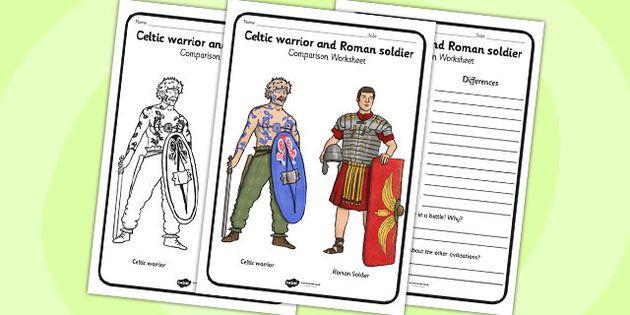 Iron Age Celtic Warrior And Roman Soldier Comparison