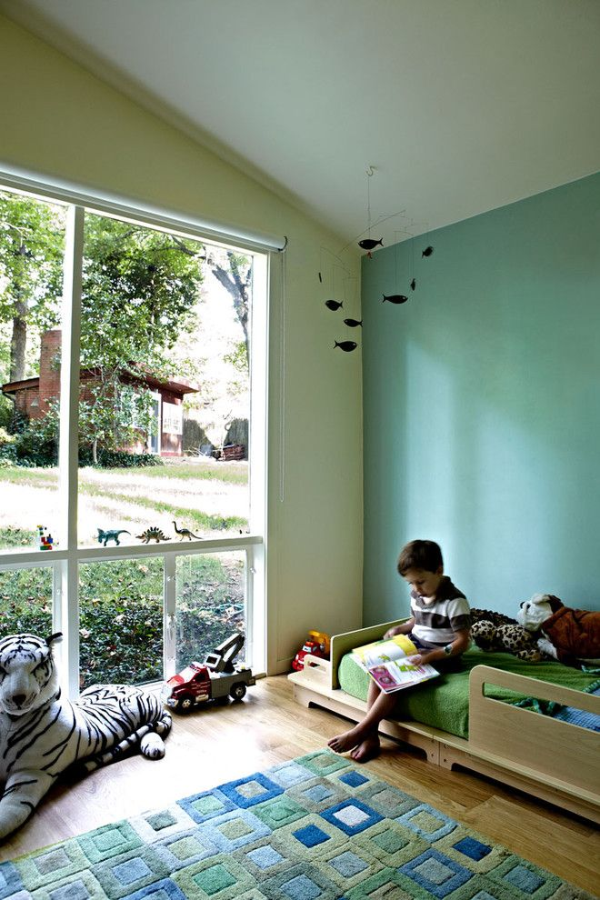 Elegant-Ikea-Toddler-Bed-convention-Dc-Metro-Midcentury-Kids-Decoration-ideas-with-beds-bedroom-blue-and-green-walls-boys-bedroom-colorful-fish-mobile-light ...