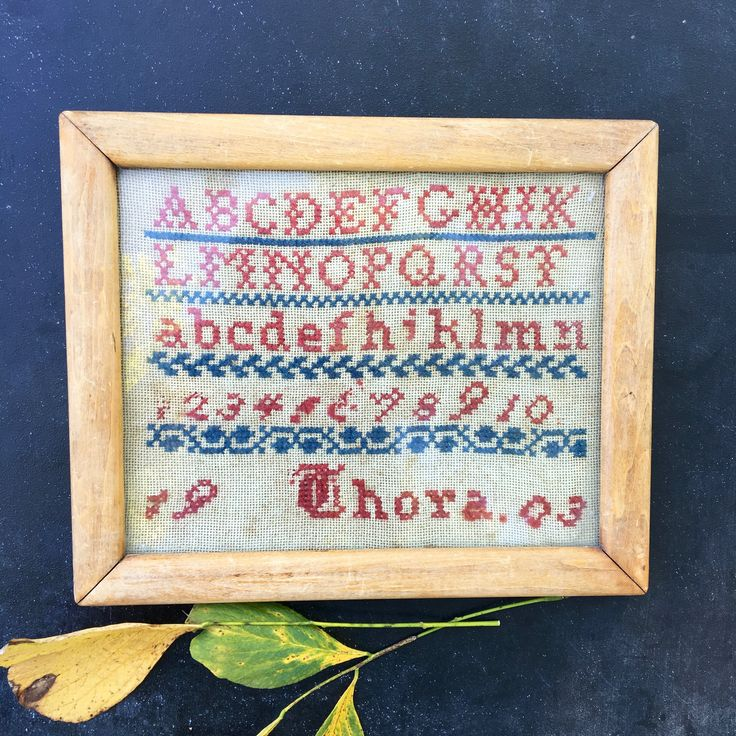 Signed and dated 1903 cross stitch alphabet sampler~ vintage rustic Americana from  MilkweedVintageHome