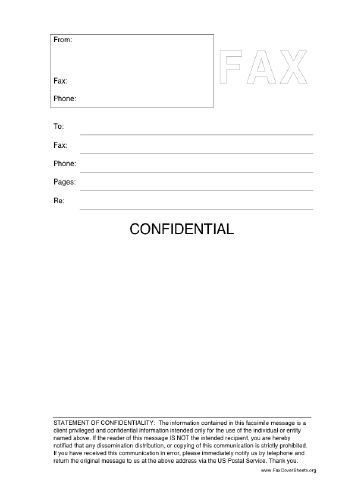 This printable fax cover sheet includes a statement of confidentiality and is clearly labeled Confidential. Free to download and print