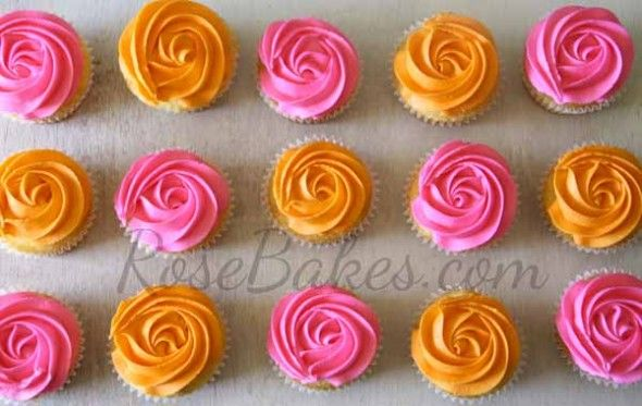 Pink and Orange Rosas Cupcake | Keeping with the pink and orange color scheme, we also did the cake ...