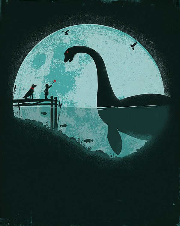 Jay Fleck - Illustrating the Childhood Imagination. Loch Ness, moon, child, flower and dog