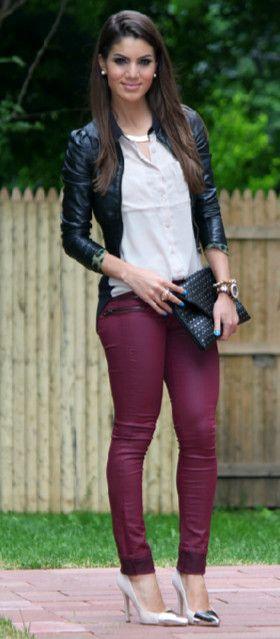 Fall 2013 Fashion Trends Burgundy Skinny Jeans