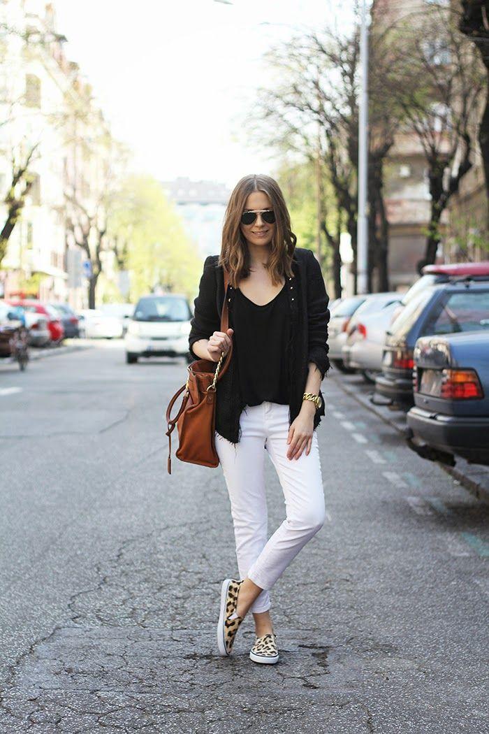 white denim + black shirt + leopard slip ons