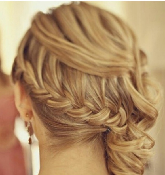 Low waterfall braid and side swept curls | Hair ...