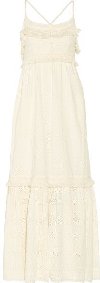 Rachel Zoe - Riley Fringed Broderie Anglaise Cotton Maxi Dress - Cream