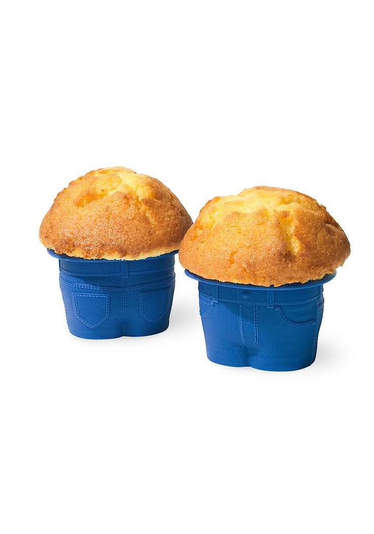 These silicone cupcake molds shaped like too-tight jeans call for just enough batter to rise into the ultimate muffin top.