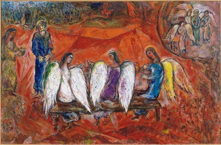 Abraham and three Angels - Marc Chagall: