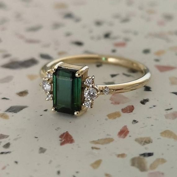 Tourmaline engagement ring, unique tourmaline ring, emerald cut ring, alternativ…