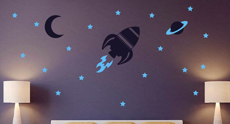 Rocket Wall Decal Baby Boy Nursery Wall Sticker Space Ship And Stars Wall Decals, Boy Bedroom Wall Art Decor Baby Grow Paradise