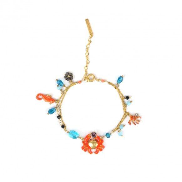 Bracelet petit crabe, hippocampe et corail