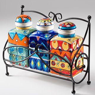 Set of 3 handpainted ceramic spice jars in rack