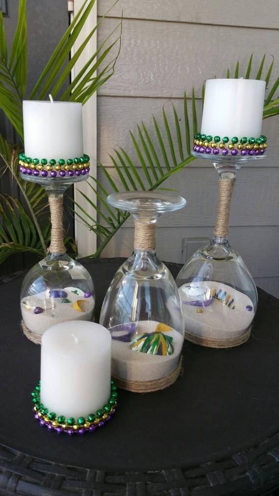 Mardi Gras Upside Down Wine Glass Candle Holders Set Wine Glass