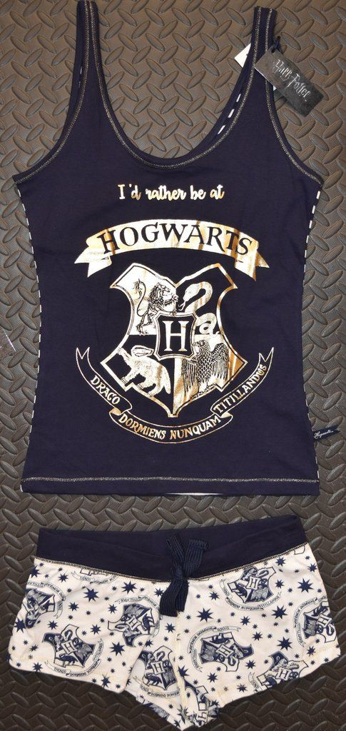 PRIMARK Hogwarts PJ Vest & Shorts Harry Potter PYJAMAS Navy Blue Sizes 4 - 20
