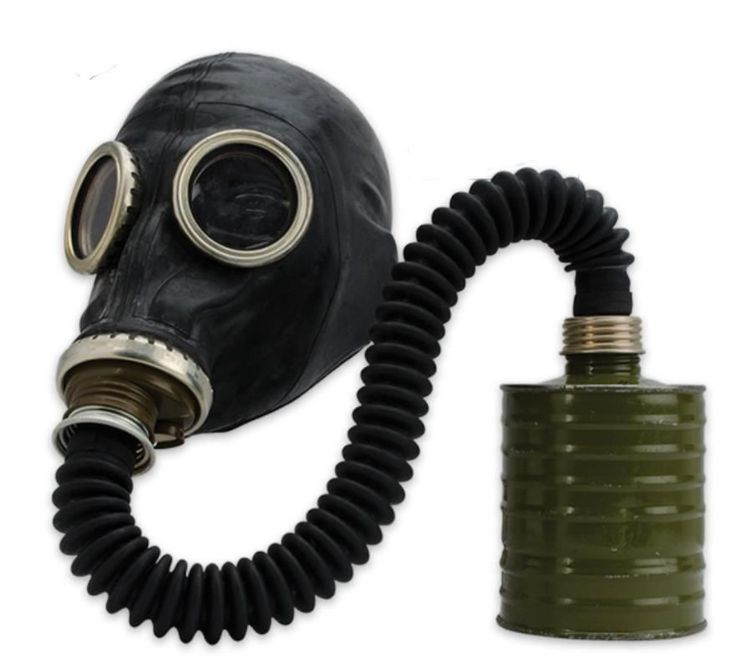 Russian Black Rubber Military  Hose Gas Mask Unissued NBC - Sealed Filter & Bag