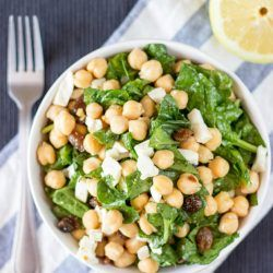 Chickpea Spinach Salad Recipe. Ready in 7 minutes, high in protein, fiber and absolutely delicious. Perfect for a quick lunch.