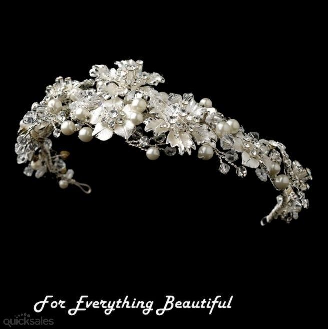 Winter Fire Rhinestone Pearl Floral Wedding Bridal Headband  by JB7339 - $210.00