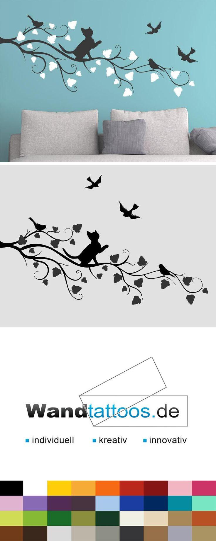 Wandtattoo Zweifarbiger Ast mit süßer Katze als Idee zur individuellen Wandgestaltung. Einfach Lieblingsfarbe und Größe auswählen. Weitere kreative Anregungen von Wandtattoos.de hier entdecken!