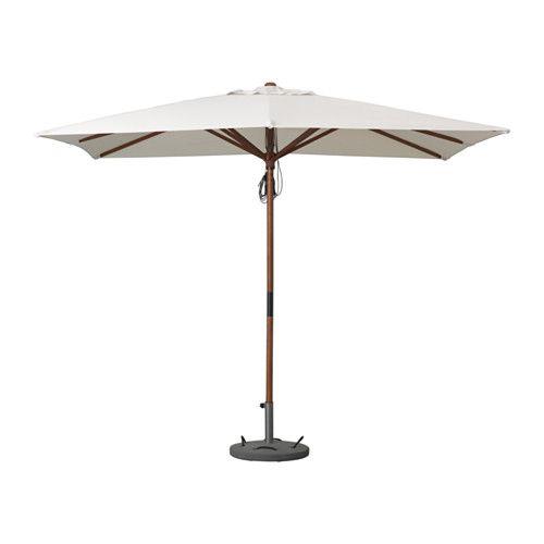 LÅNGHOLMEN Parasol met voet - beige/Lökö grijs - IKEA