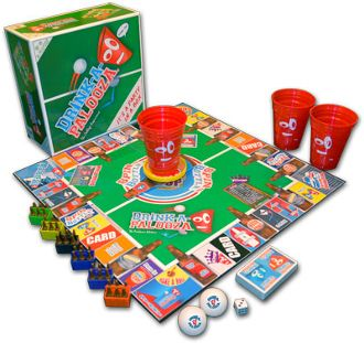 The Ultimate Drinking Board Game! The ONLY game to combine all the Drinking Games into One!  If you like Beer Pong, Kings Cup, Flip Cup Quarters and all the College Drinking Party Games then you will love the Drink-A-Palooza drinking game.  This American Drinking Game is known by college students and those who party as the monopoly of drinking games and drinking card games, this drinking board game will make you party memorable.