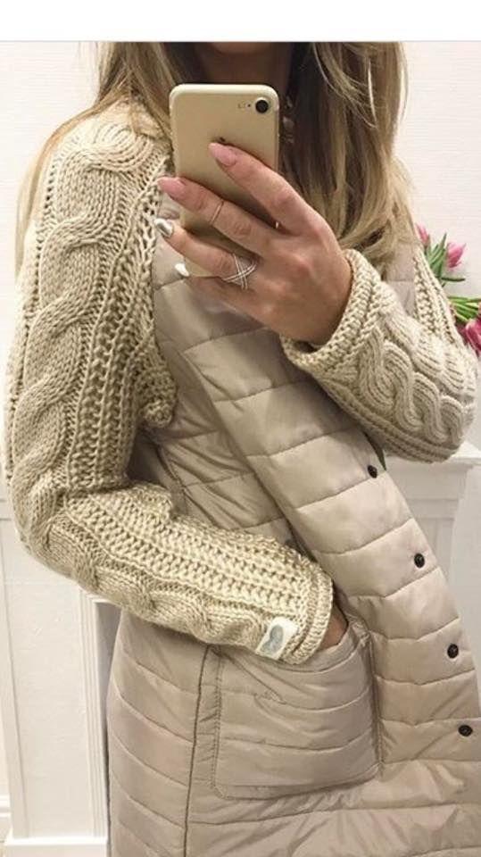 Болоневое пальто с вязаными рукавами