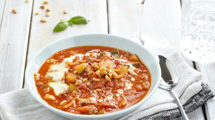 Romige Lasagnesoep met Cashewroomsaus