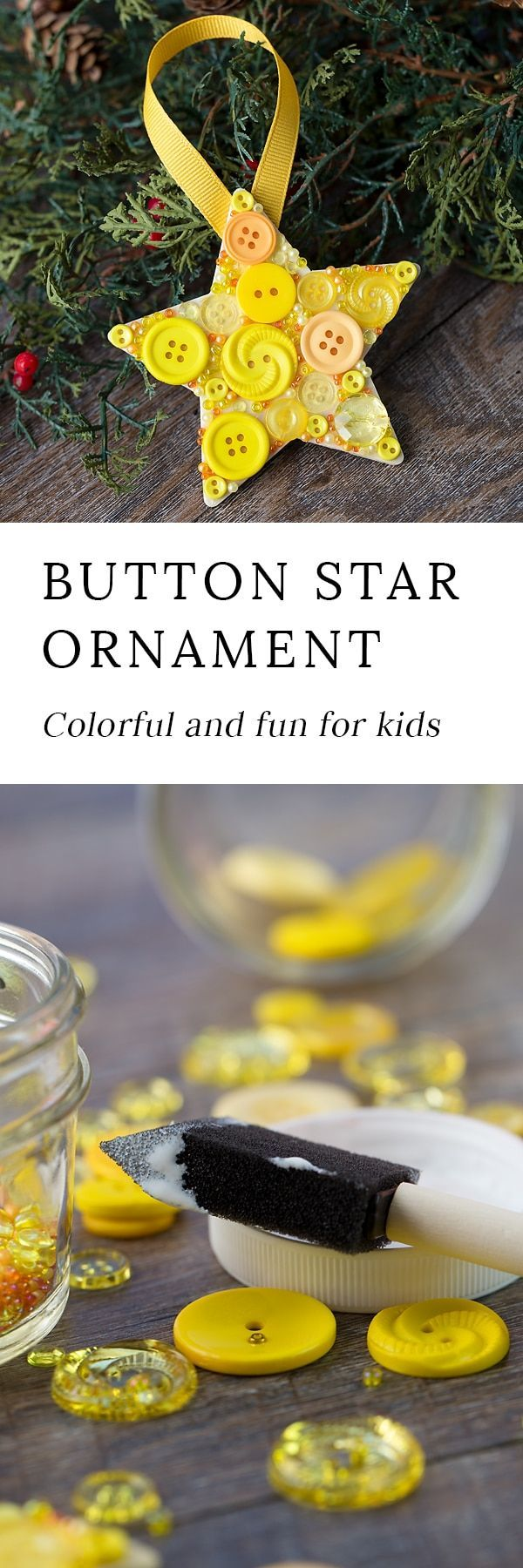 Just in time for Christmas, learn how to make a colorful button star ornament with a wooden star, yellow buttons, and glue. #christmas #kids #buttonart #kidsmadechristmas via @https://www.pinterest.com/fireflymudpie/