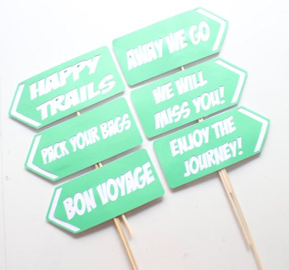 6 pc * Away We Go Photobooth Signs Props/ Going Away Party Signs/Photobooth Props - CUSTOM OPTIONS AVAILABLE